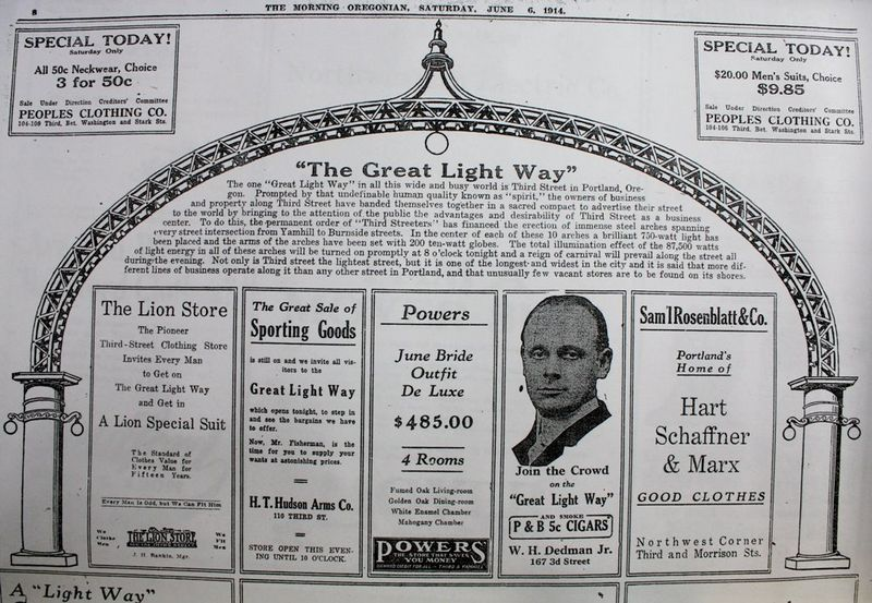Great Light Way advertisment, Morning Oregonian, June 6 1914