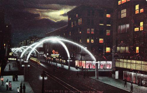 Third Street by night, Portland Oregon post 1914.