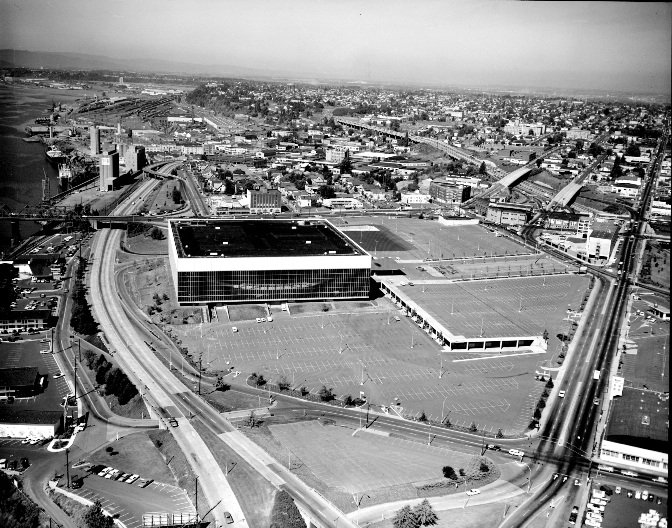 Aerial of Memorial Coliseum looking north