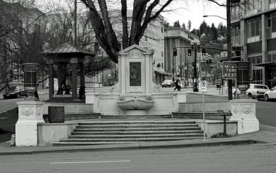 The David Campell Memorial in Portland Firefighters Park. Portland Oregon, January 25 2010.