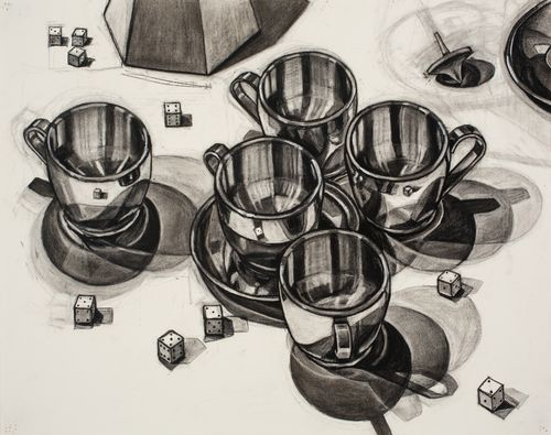 5_drawing by Michelle LaFoe_O52_Stainless Steel Cups and Dice_The Looking Series