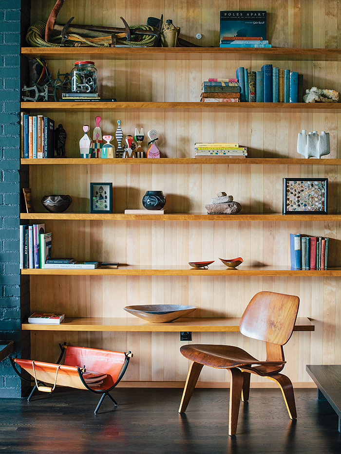 Midcentury-renewal-molded-plywood-chair-eames-built-in-shelving